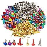 Nsiwem Mini Brads 500 Stück Musterklammern Rundes Metall Brads Rundkopfklammern Papierverschlüsse Musterbeutelklammern Verschlussklammern Mischfarbe für Bastelarbeiten Scrapbooking