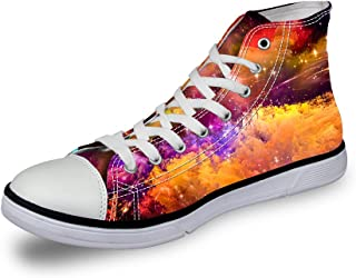 dceb6658283 FOR U DESIGNS Shiny Glitter Unisex High Top Women Men s Galaxy Shoes Canvas  Fashion Sneakers Lace