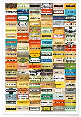 """JUNIQE® Berlin Poster 30x45cm - Design """"U-Bahn Poster"""" entworfen von Tom Bäcker"""