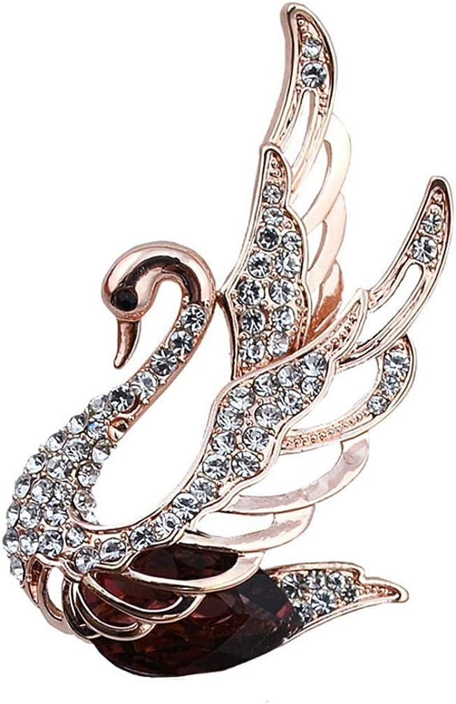 TULIP LY Created Crystal Brooch B Womens Popular Brand new Swan Rhinestone Elegant