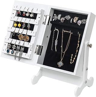 Armoire à Bijoux avec Miroir, Organisateur de bijoux sur pieds, Verrouillable, Avec miroir inclinable, Blanc