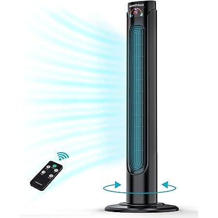 Ventilateur Colonne Silencieux WOWDSGN Ventilateur Tour Oscillant 90° avec Télécommande & Minuterie 15h, 3 Vitesses, Affichage LED- Noir 93cm