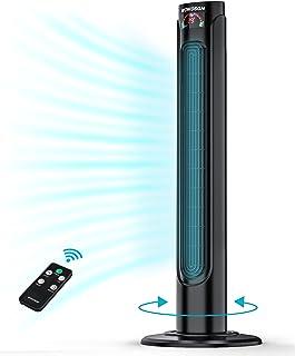 Ventilateur Colonne Silencieux WOWDSGN Ventilateur Tour Oscillant 90° avec Télécommande & Minuterie 15h, 3 Vitesses, Affic...