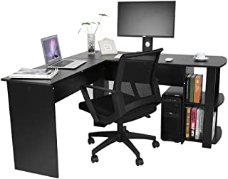 Hoekbureau, zwart groot computerbureau bureau bureau werktafel met 2-laags opbergrek, 140 x 139,5 x 71 cm