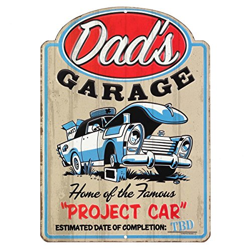 Open Road Brands Dad's Garage - Blue Vintage Car Embossed Metal Wall Sign - an Officially Licensed Product Great Addition to Add What You Love to Your Home/Garage Décor
