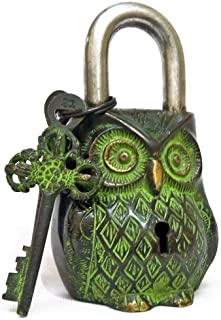 Chritmas Sale Door Lock Owl Lock Vintage Look with Two Key and Decorative Use for Home, Office