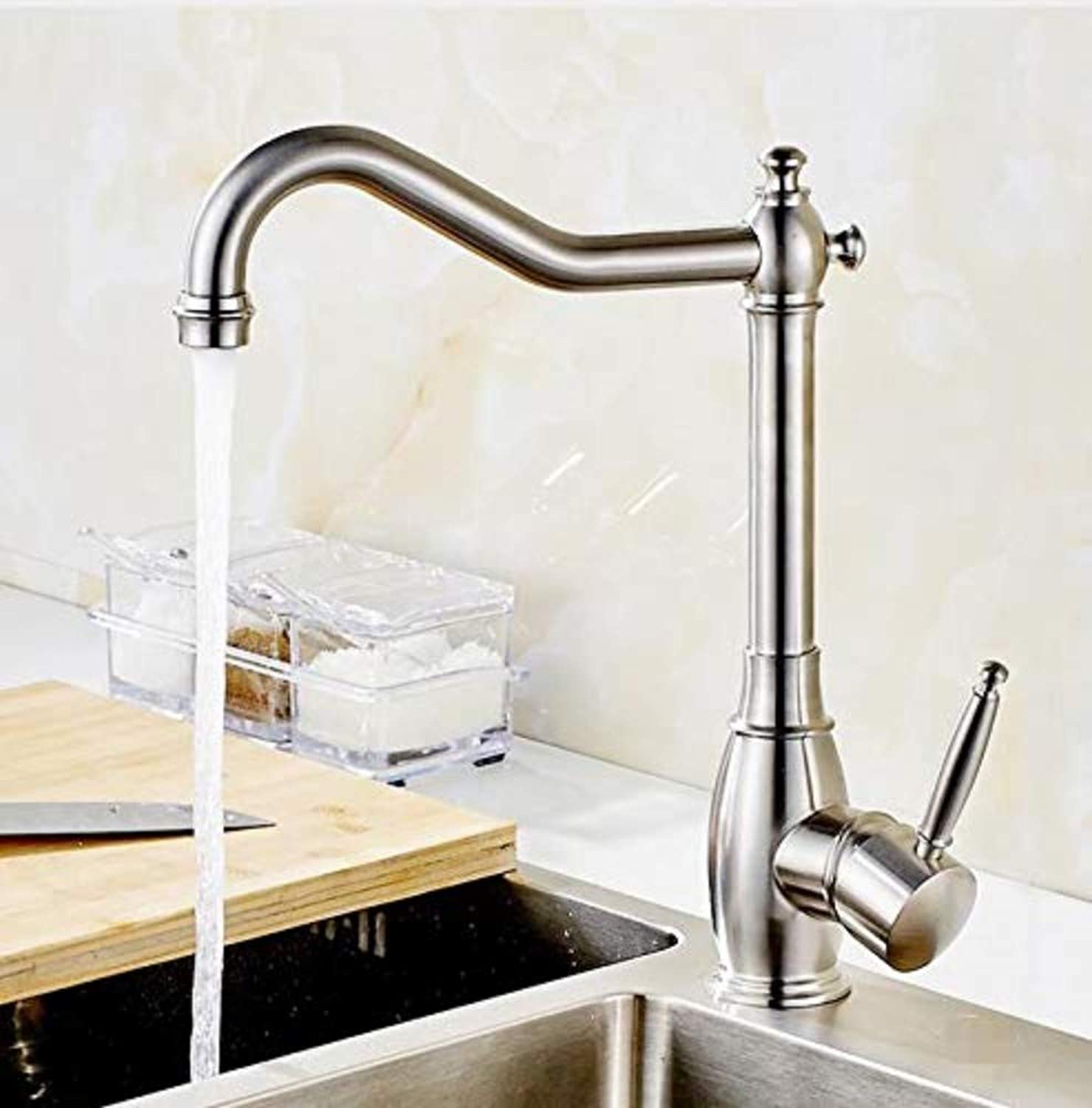 Bathroom Sink Basin Lever Mixer Tap 304 Stainless Steel Cold Hot Single Hole Mixer Taps for Kitchen Sinks