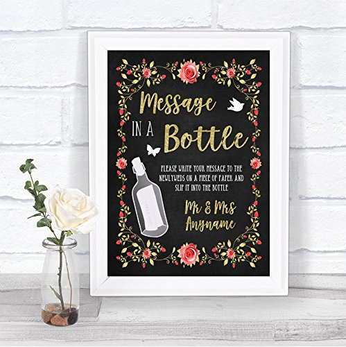 Krijtstijl Blush Roze Rose & Goud Bericht in een fles Gepersonaliseerde Bruiloft Teken Print Framed Oak Small