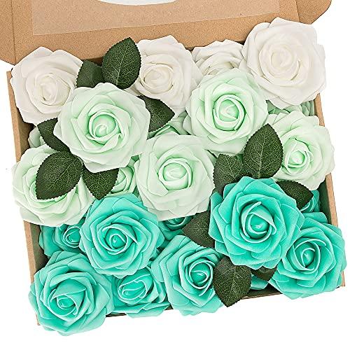 N&T NIETING Künstliche Blumen Rosen, 25 Stück Deko Blumen Fake Rosen mit Stielen DIY Brautjungfer Brautsträuße, Valentinstag, Muttertag, Hochzeitsfeier, Babyparty, Zuhause Dekoration, Gemischtes Grün