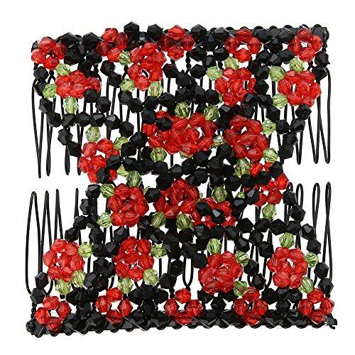 1989candy Clip de Peigne métallique Double glissière Magique de Peignes de Cheveux Extensibles Vintage (Rouge)