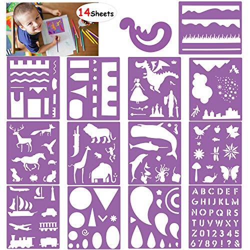 HOWAF Schablonen Set, 14 Stück Buchstaben Zahlen Tier Dinosaurier schablonen für Kinder malen, Bullet Journal, Scrapbooking, Fotoalbum, Gästebuch, Bastelarbeiten und Dekorationen