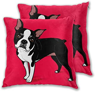 2PCS Boston Terrier Dog 18 X 18 inches Decorative Throw Pillows Covers Square Cushion Cases for Sofa Chair Car Bench Bed Office Bar Indoor Outdoor Home Party