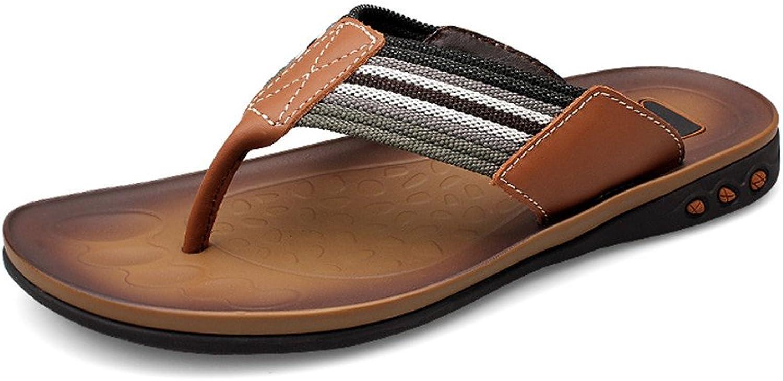 CHENXD Schuhe, Herrenmode Kunstleder Tanga Klassische Flip Flops Sandalen Slipper (Farbe   Khaki, Größe   38 EU)