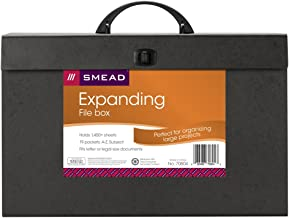 Smead Portable Expanding File Box, 19 Pockets, Alphabetic (A-Z) and Subject, Latch Closure, Legal Size, Black (70804)