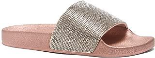 Cosmic Womens Fashion Rhinestone Glitter Slide Slip On Mules Summer Shoe Platform Footbed Sandal Slippers