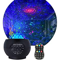 【Star Projector Night Light】15 Color Combinations and variety of Fantastic Lighting Modes .Starry Projecter with ocean wave,nebula ,and stars that Create an fantastic,Romantic atmosphere for kids'bedroom,Couple dating,birthday party,family dinner,and...