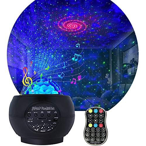 Star Projector Night Light for Kids, Adjustable galaxy Projector with 27 Lighting Modes with Remote control&Bluetooth Music Speaker Ocean Wave stars lights for ceiling As Party Wedding Birthday Gifts