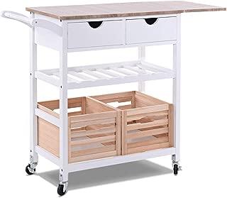 Cypressshop Wood Kitchen Trolley Rolling Island Cart Drop-Leaf with Storage Drawer Moveable Basket and Wine Rack Prep Meal Preparation Drink Home Furniture
