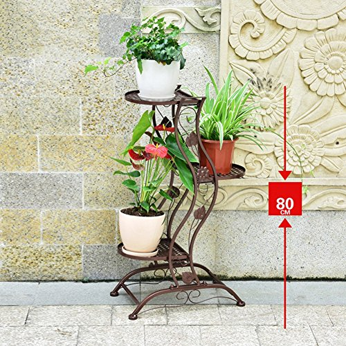 ZHANWEI Etagère à Fleurs Porte Pots pour Fleurs et Plantes Fer 3/5 Couches Multifonctionnel Style européen Intérieur/extérieur, 3 Couleurs, 46 cm * 28 cm * 80 cm / 46 cm * 28 cm * 140 cm