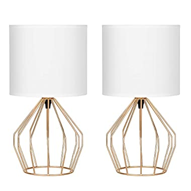HAITRAL Gold Table Lamps Set of 2 - Minimalist Table Lamps, Modern Golden Lamp with Hollowed Out Base and White Fabric Shade, Small Lamps for Living Room, Girls Room, Gifts - Gold