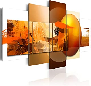 """Canvas Prints Art Modern 5 Pieces Wall Picture Abstract Sphere Pros and Cons Painting Orange Artwork Framed Home Decoration Living Room Ready to Hang (CL14, Huge W80"""" x H40"""")"""
