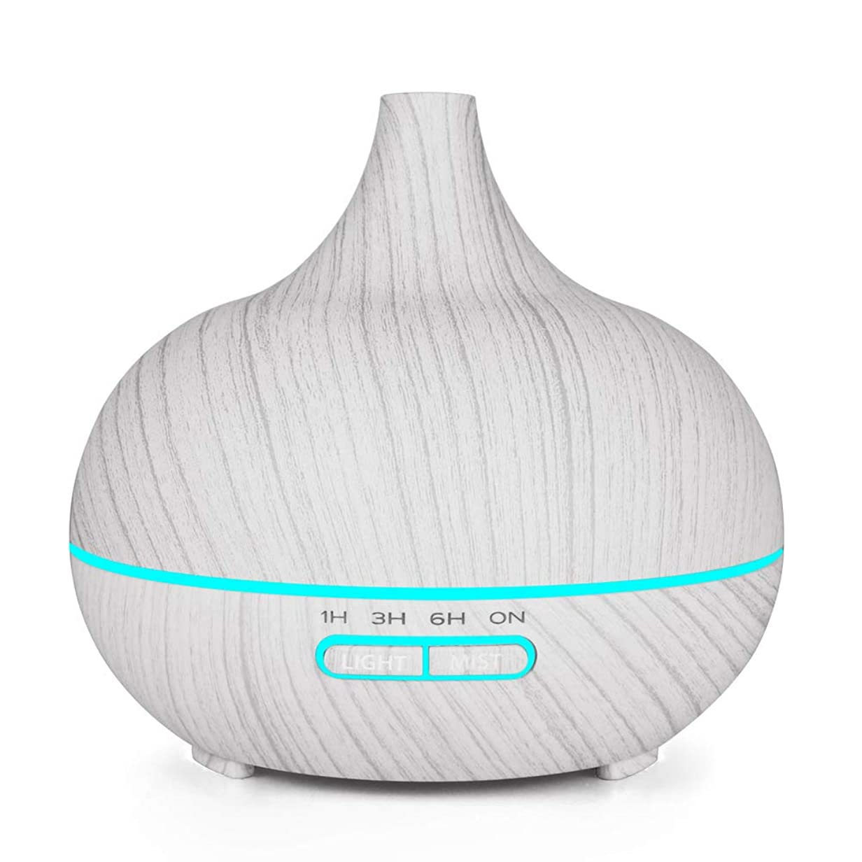 クリーム不定ハーブ木目 涼しい霧 加湿器,7 色 空気を浄化 加湿機 時間 手動 香り 精油 ディフューザー アロマネブライザー Yoga ベッド- 400ml