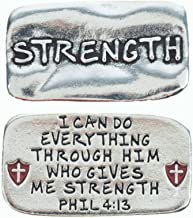 Pewter Scripture Pocket Token: Strength Philippians 4:13 - 3/4