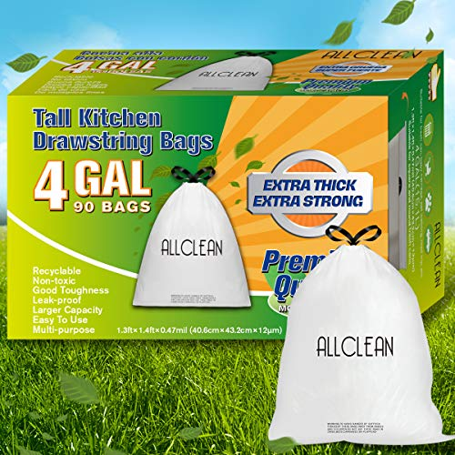 4 Gallon Trash Bags, Drawstring Garbage bags Small 90Count, Strong Can Liners Wastebasket Bin Liners Plastic Rubbish Bags Unscented White for Bathroom, Office, Bedroom, Kitchen, Home, Cat Litter