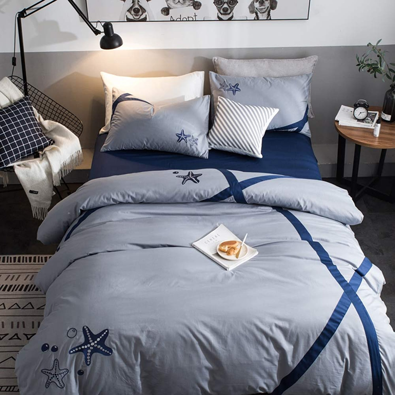 Ensemble de couette avec broderie luxueuse avec taie d'oreiller, draps de lit ajustés, housse de couette, 2 taies d'oreiller, ensemble de coton de 4, doux, respirant , simple, double, tailles roi,2.0m