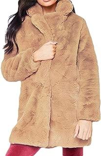 Womens Fleece Fuzzy Faux Coat Casual with Pocket Coats Warm Outwear Jackets