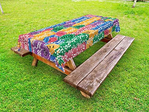 ABAKUHAUS Casino Nappe Extérieure, Casino Chips Chance, Nappe de Table de Pique-Nique Lavable et Décorative, 145 cm x 210 cm, Multicolore