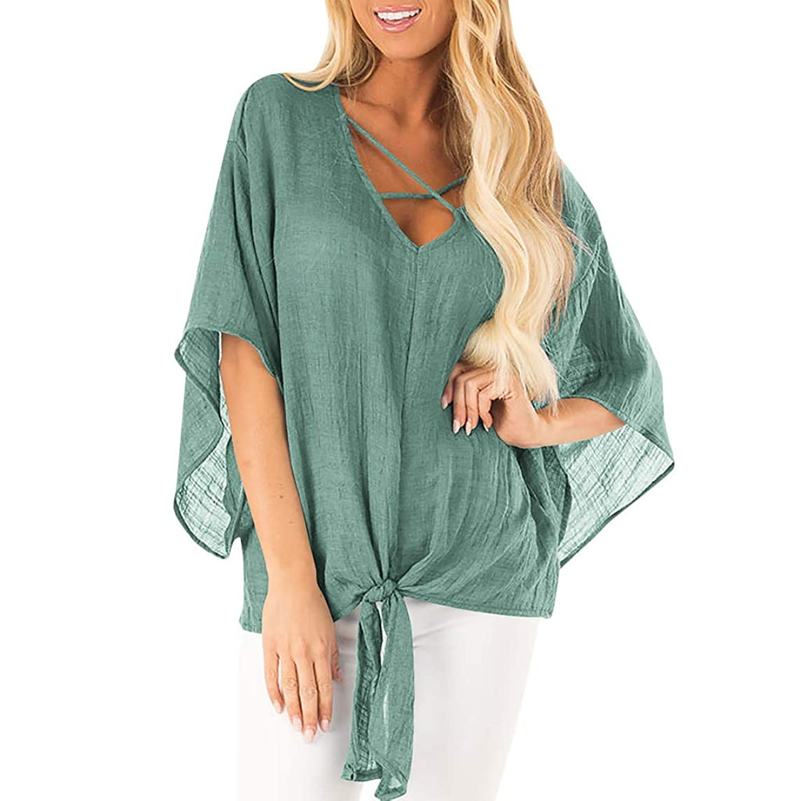 Women's Summer Short Sleeve T-Shirt Bat Sleeve Casual Cover Up Blouse Tops