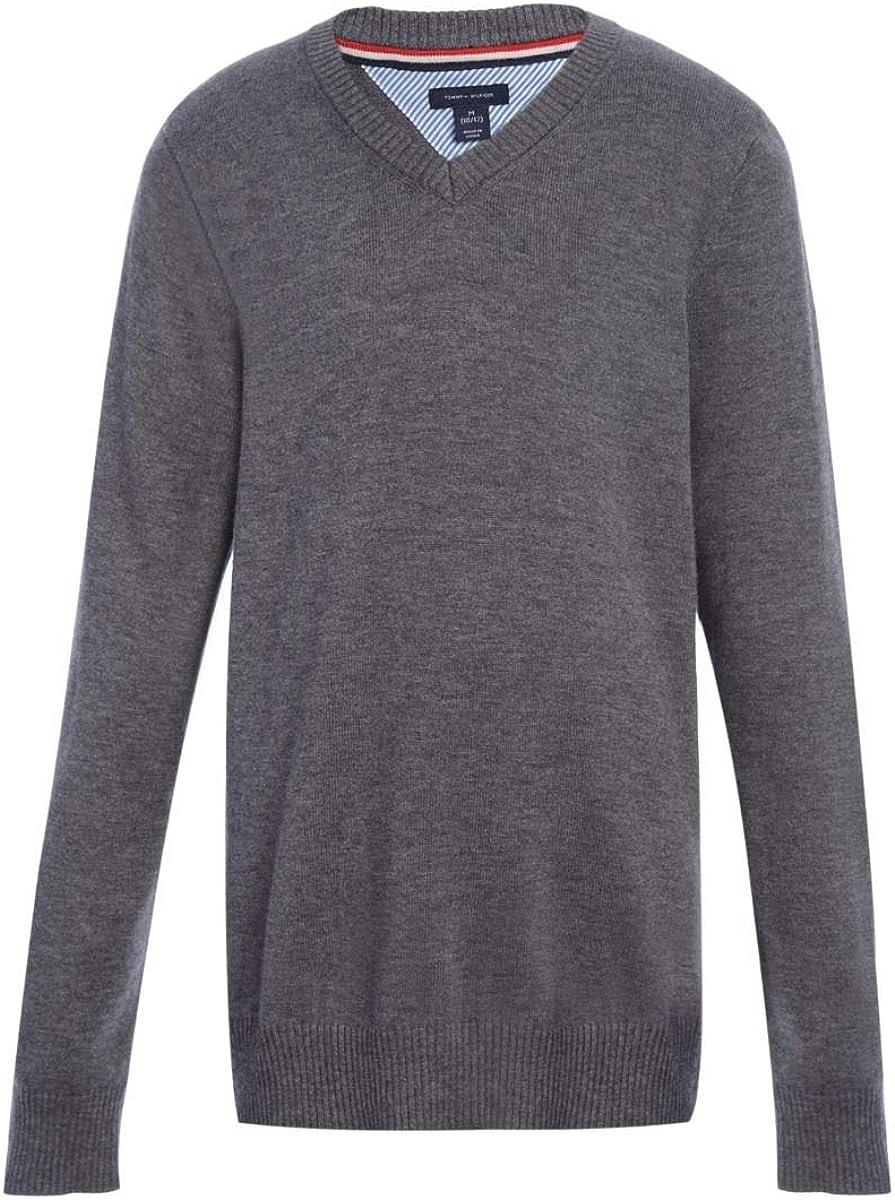 Tommy Hilfiger Girls V-Neck Sweater Uni Kids Max 42% OFF Sleeve Sacramento Mall Long School