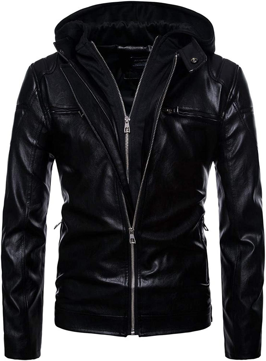 Men's Autumn Winter Casual Pocket Zipper Cap Thermal Leather Jacket Top Coat (color   Black, Size   M)