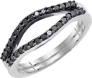 0.35 Carat (ctw) 10K Gold Round Black Diamond Ladies Anniversary Enhancer Guard Wedding Band 1/3 CT