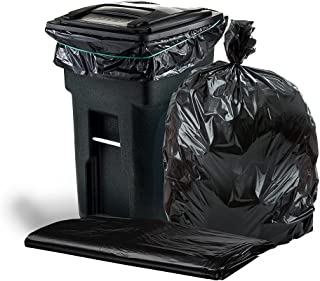 """Plasticplace T64155BK 64-65 Gallon Trash Can Liners for Toter │ 1.5 Mil │ Black Heavy Duty Garbage Bags │ 50"""" x 60"""" (25 Co..."""