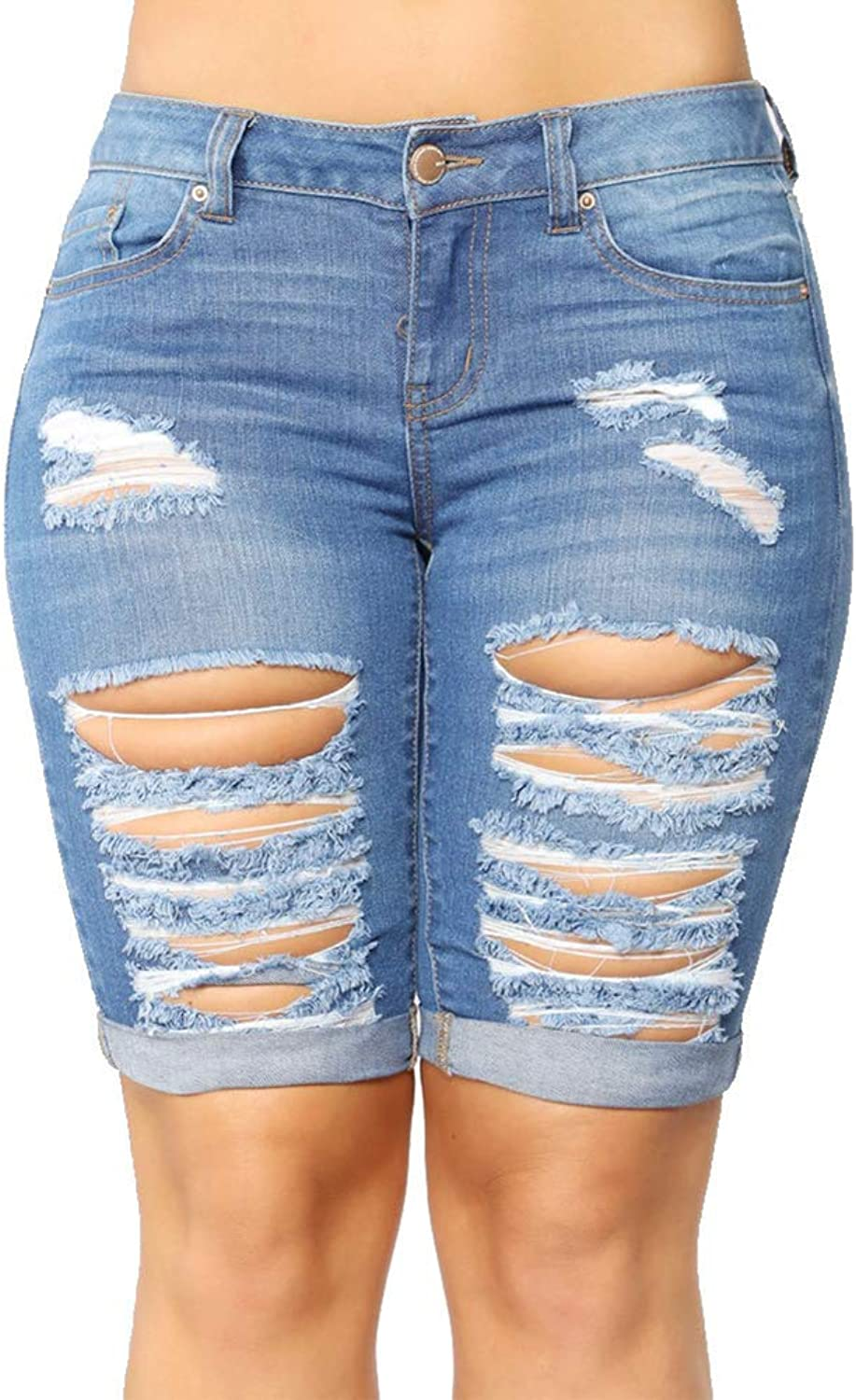 CLOTPUS Women Mid Waist Skinny Shorts Ripped Jeans with Holes Distressed Denim Pants