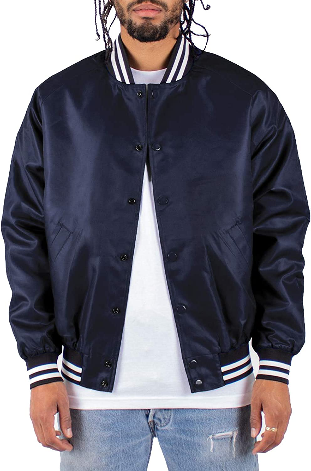 Shaka Wear Men's Bomber Jacket – Classic Padded Relaxed Fit Water Resistant College Baseball Varsity Coat S-3XL