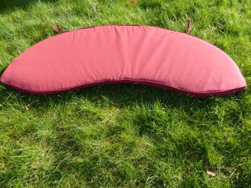 """UK-Gardens Auflagen für Gartenmöbel, Rubin Rot, Oval, Motiv """"Peanut Sitzkissen für Gartenbank, 138 cm x 49 cm x 5 cm"""