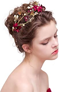 Crystal Pearl Flower Bridal Tiaras Headband Women Headpiece Wedding Crowns Hair Jewelry Accessories