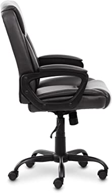 Amazon Basics Classic Puresoft Padded Mid-Back Office Computer Desk Chair with Armrest - Black