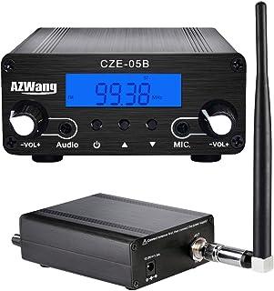 $128 » AZWang Radio Transmitter for Church 500m Long Range FM Stereo Broadcast Equipment Mini Radio Station with Antenna, Black