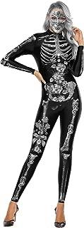 WFTD para Mujer de Halloween Esqueleto del Mono Diamante Incrustaciones de impresión Embrujado Fantasía Body General Trasera de Manga Larga con Cremallera