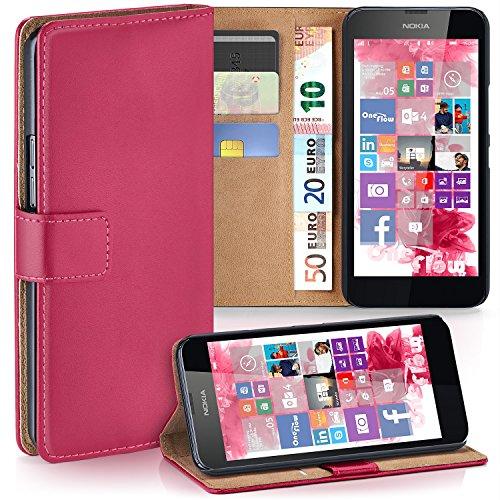 MoEx Premium Book-Case Handytasche kompatibel mit Nokia Lumia 630 | Handyhülle mit Kartenfach und Ständer - 360 Grad Schutz Handy Tasche, Pink