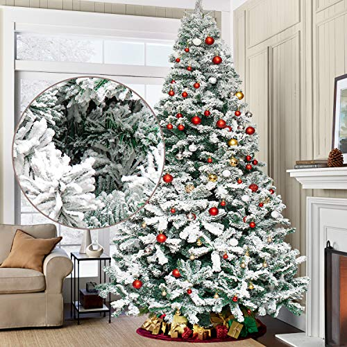 9ft Snow Flocked Christmas Tree Premium Xmas Tree Artificial Pine Tree 2028 Branch Tips with Solid Metal Legs and Foldable Base Holiday Festival Decoration for Home, Office, Party Decoration