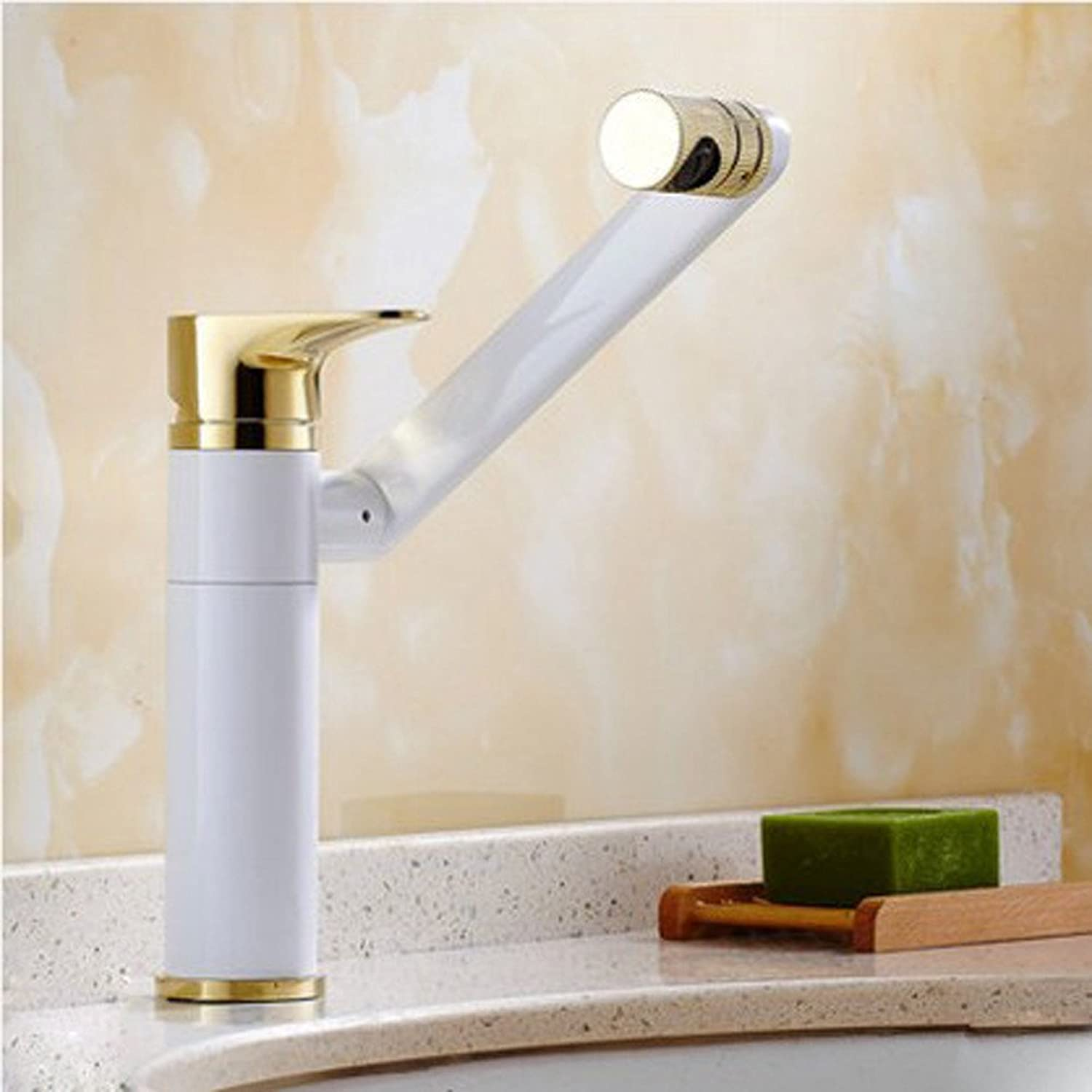 Olici Bathroom Accessories Basin Tap Copper single hole mixing Taiwan basin faucet hot and cold lift and opening type redary faucet white