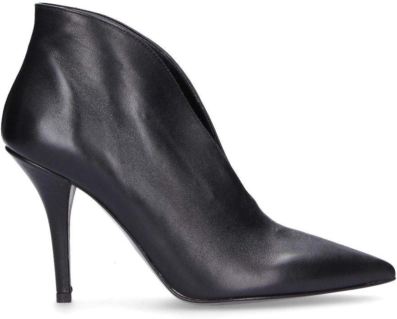 DI LUNA Women's C2959BLACK Black Leather Ankle Boots