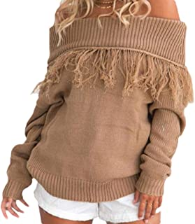 Womens Fashion Pullover Casual Off Shoulder Tassel Long Sleeve Knitted Loose Sweater Top