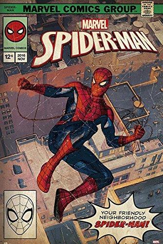 Close Up Póster Marvel Spider-Man - Portada de Revista Cómic (61cm x 91,5cm) + 2 Marcos Transparentes con suspención