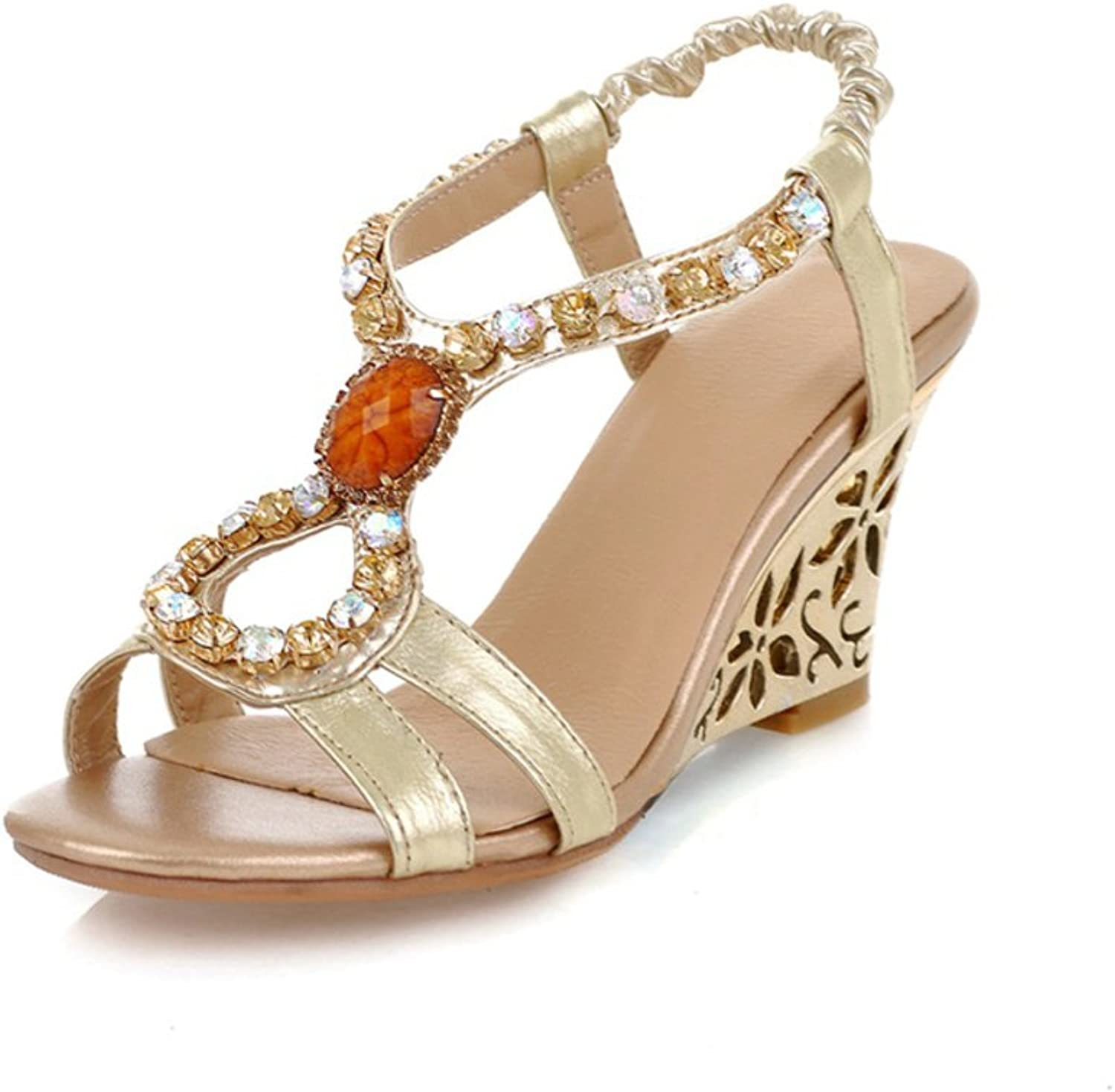 RHFDVGDS Summer women sandal wedges cut ladies shoes Rhinestone peep-toe leather ladies high heels
